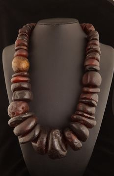 Ancient necklace in Mediterranean amber (from excavation)