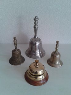 Four silver-plated / copper / brass hotel bells - desk bells