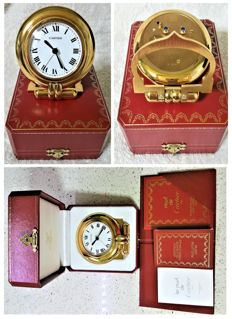 "Le Must de Cartier Model ""Colisee"" - travel alarm clock Alarm - Swiss made."