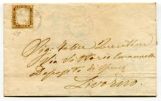 Italy 1862, 10 Cents, bistro (N.1) bistro used in isolation on letter from Siena to Livorno