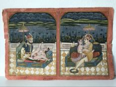 Erotic miniature painting - India - ca. 1920