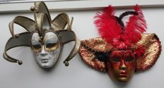 Two Venetian masks made of papier maché