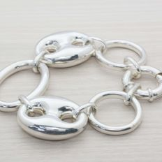 925 silver bracelet in Italian design, very wide links - 21 cm.