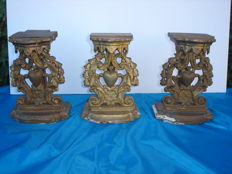 Lot of 3 portable consoles for altar of Chapel - wood and stucco - Belgium, late 19 th century