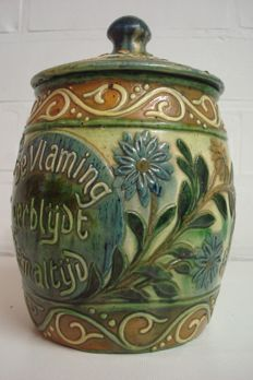 Torhouts pottery - Art Nouveau earthenware tobacco jar - manufactured by Leo Maes - Decock
