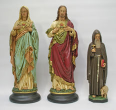 Three plaster statues of Saints, Sacred Heart, Mother of God and Antony the Abbot