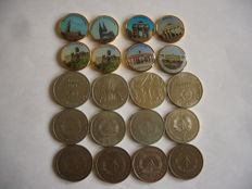 Europe - 2 Euros colorisée emaille et gold plated  ( 8coins ) + Germany 5 et 10 Marks (15 coins)