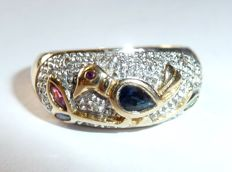 Wide band ring in 18 kt / 750 gold with diamonds and coloured gemstones, motif: Bird on a bough