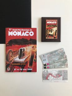 2nd Grand Prix Historique de Monaco - Lot of 3 items - enamelled sign + program + 3 places (2000's)