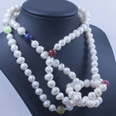Silver 925 – Necklace with pearls and varied stones – 171.70 g