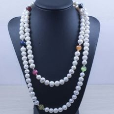 925 silver pearl necklace and various stones – 122.40g – No reserve