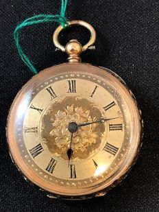 Pocket watch, circa 1870, with gold dial.
