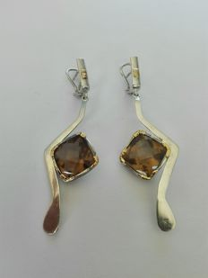 925 Silver Earrings with 18k gold add-ons - and Natural Citrine Stone - Unique piece