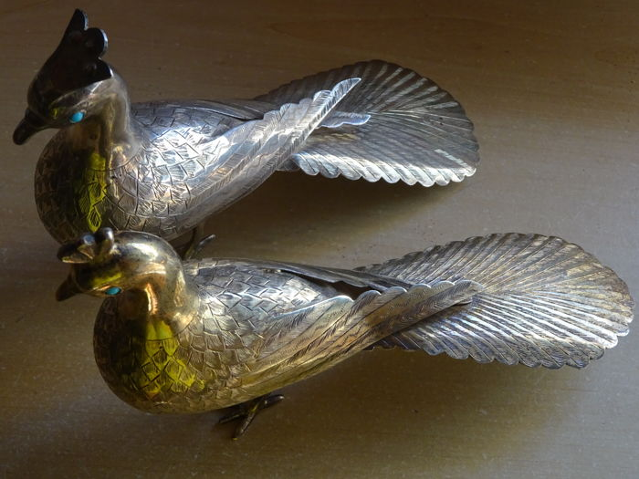 Pair of sterling silver and silver gilt (vermeil) peacocks, turquoise eyes, Iran, 20th century