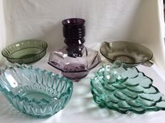 Vintage pressed glass 6 pieces, green, purple and grey