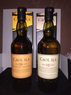 2 bottles - Caol ila  12 years old & Caol Ila 18 years aged  70 cl 40%