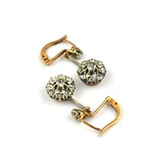 "Antique ""Dormeuse"" Earrings with rose cut Diamonds (total 0.80ct) set on 18k Gold with silver diamond fastenings - (Size 25mm x 10mm)"