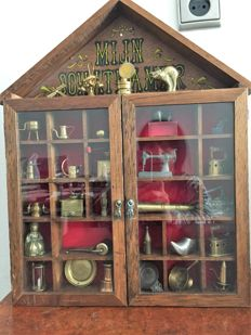 Typecase with glass doors and pewter miniatures