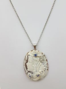 Necklace with Torre del Greco cameo, in silver, with sapphires – 50 cm – made in Italy