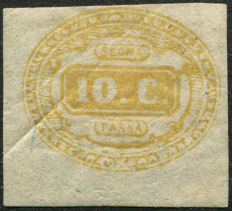 Kingdom of Italy, 1863 - Postage due - 10 cents yellow - Sassone no. 1.