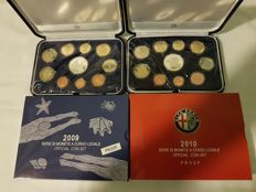 Italy -- Proof coin set: 2009, and 2010 (18 coins, 2 of which are silver)