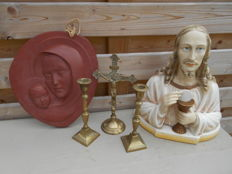 terracotta sculpture Mary and child - sculpture of Jesus - copper crucifix with candlesticks