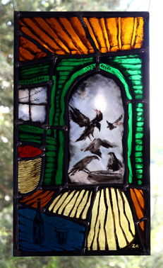 """Painted stained glass panel """"Ravens 2"""""""