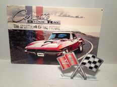 Chevrolet Corvette Sting Ray - Large heavy steel sign - 2012 USA + Steel table topper Corvette Flags Logo