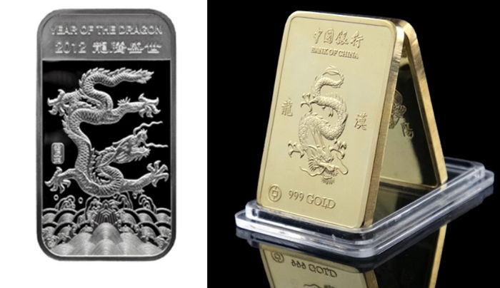 United States 1 oz 999 silver bullion - Lunar Dragon Year of the Dragon 2012 + 24 karat gold plated medal bar