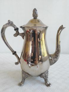 Beautiful silver plated teapot for hot water with pinnacle and handle with floral decoration, period: 1920s