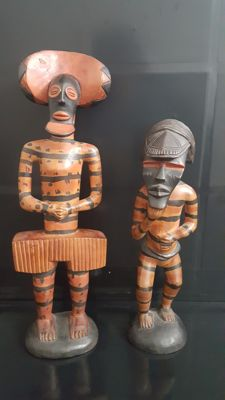 Couple of Sculptures belonging to the Kalelwa - Chokwe Tribe Ceremony of the Democratic Republic of Congo