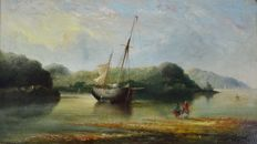 Unknown (19th century) - An estuary scene with beached fishing boats and figures on the shore
