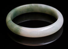 Vintage ice white & green jade jadeite bangle, China 20th century