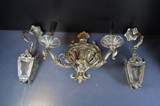 3-part silver-coloured bronze wall lights, Belgium, mid 20th century