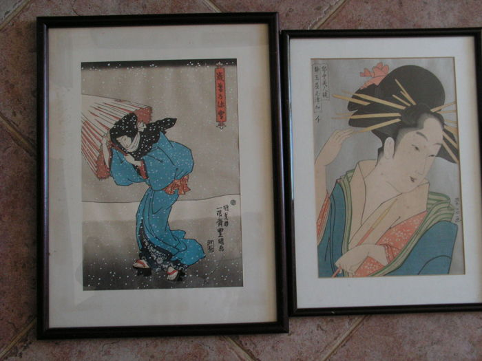 Two Uchida reproductions of woodblock prints – Courtesan Shizuka by Chōkōsai Eishō (fl. 1780-1800) and Beauty in Snow by Utagawa Kunisada (1786-1865) – Japan – Mid 20th century