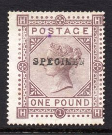 Great Britain 1878 QV - £1 Brown Lilac Specimen Mint No Gum Stanley Gibbons 129s