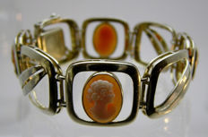 Cameo bracelet, middle of the 20th century, 800 silver + maker's mark