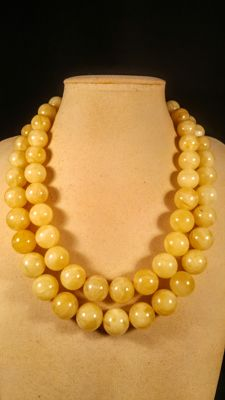 Round beads double strand Baltic Amber necklace with silver clasp, in egg yolk colour, length ca. 50 cm, 159 grams
