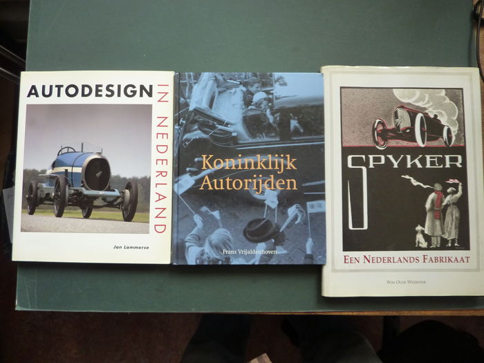 Three books ; SPIJKER , Een Nederlands Fabrikaat - 1998 . and Autodesign in Nederland -1993 . and Koninklijk Autorijden , 2001