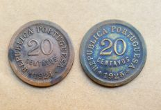 "Portuguese Republic – ""Pair"" of 20 Centavo coins – 1924 and 1925"