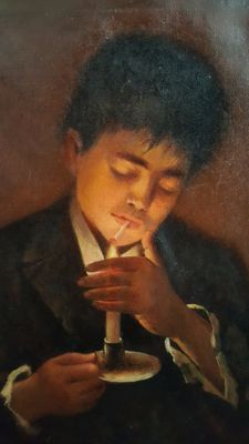 J.Morini (XIX-XX) - Smoking boy with Candlelight