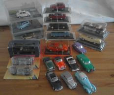 Various - Scale 1/43 - Lot with 21 models: Austin Healy, Facel Vega, Citroen, Lancia, Ferrari, Gaz, Yugo, Moskvitch, Volga, Alfa Romeo, Nissan and Fiat.