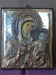 Catholic devotion - icon of Mary with Child in 925/1000 Silver by the silversmith 336 FI LIVI GIANCARLO,	Via del Cantone 60/62,	SESTO FIORENTINO, 05/16/1959 and active until 12/31/1971