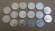 "Republic of Italy – 500 lira – ""Unification of Italy"" (16 coins) – silver"