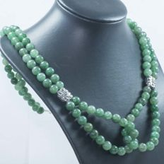 Two-strand jade necklace with central design in sterling silver – length: 60 cm