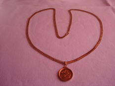 19.2 kt gold necklace with sovereign Queen Elizabeth from 1958