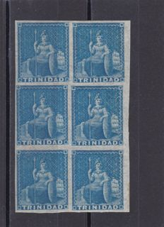 British Colonies - Trinidad 1851 - 1p blue on on blued paper - block of 6 with Vaccary warranty