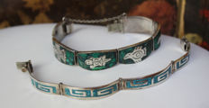 2 bracelets, 1950s. Mexico. Silver with stones