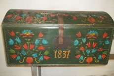 Folkart painted chest - Western Europe - dated 1831