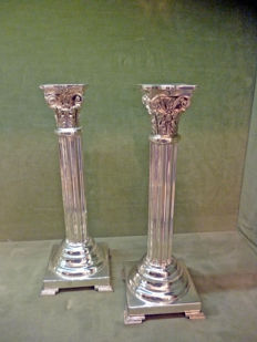Pair of silver column candlesticks Corinthian style - M.I.Armaos - Athens Greece - 2002